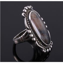 Signed Navajo Sterling Silver & Amphibolite Ring