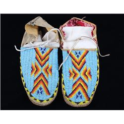 Crow Indian Fully Beaded Moccasins Circa 1960's