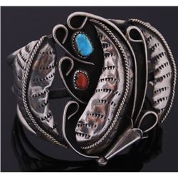 Navajo Sterling Silver Coral & Turquoise Cuff