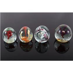 Polychrome Flower Glass Art Paperweights