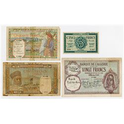 Banque de l'Algerie. 1940-1942. Quartet of Issued Banknotes.