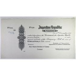 Argentine Republic. 1933. Specimen £1,000 Treasury Bill.