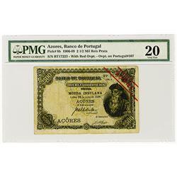 Azores, Banco De Portugal, 1909 Issue Banknote.