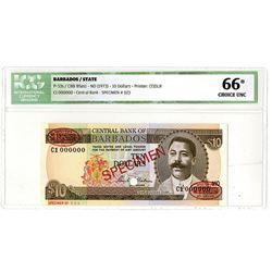 Central Bank of Barbados. ND (1973). Specimen Banknote.