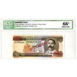 Central Bank of Barbados. ND (1973). Specimen Banknote.