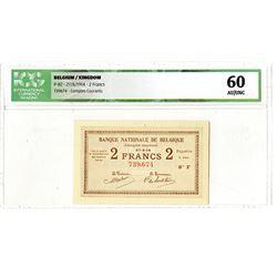 Banque Nationale de Belgique. 1914. Issued Banknote.
