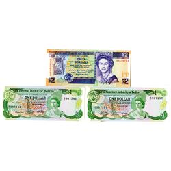 Monetary Authority of Belize, 1980-1990 Banknote Trio.