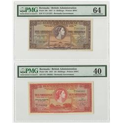 Bermuda Government. 1957. Pair of Issued Banknotes.