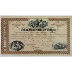 Credito Hipotecario de Bolivia, 1870 I/U Stock Certificate by National Bank Note Company.