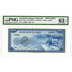 Banque Nationale du Cambodge. ND (1956-1972). Specimen Banknote.