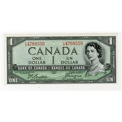 "Bank of Canada, 1954 ""Devil's Face"" Issue $1 Banknote."