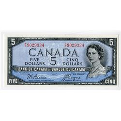 "Bank of Canada, 1954 ""Devil's Face"" Issue $5 Banknote."