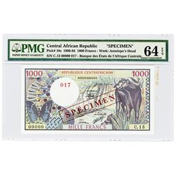 Banque des Etats de l'Afrique Centrale. 1980. Specimen Banknote.