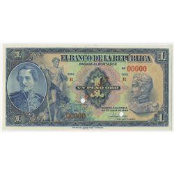 Banco de la Republica, 1942, 1 Peso Oro Specimen Banknote.