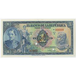 Banco de la Republica, 1944, 1 Peso Oro Specimen Banknote.