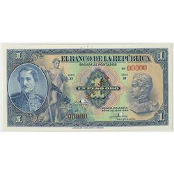 Banco de la Republica, 1946, 1 Peso Oro Specimen Banknote.