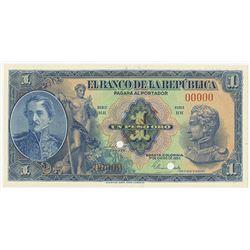 Banco de la Republica, 1954, 1 Peso Oro Specimen Banknote.