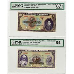 Banco de la Republica. 1947-1949. Specimen Banknote.