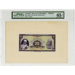 Banco De LA Republica, 1947 Proof Banknote