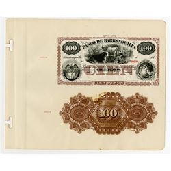 Banco De Barranquilla 1873 Proof Face & Back Banknote On Presentation Sheet.