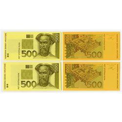 Narodna Bank Hrvatske. 1993 (1994). Quartet of Progress Proofs.