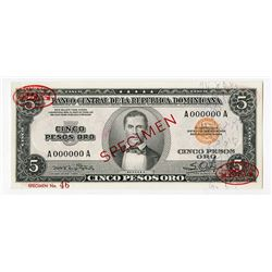Banco Central De La Republica Dominicana, ND (1952) Specimen Banknote.