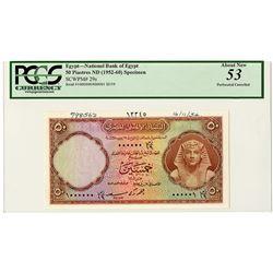 National Bank of Egypt. 1954. Specimen Banknote.