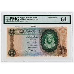 Central Bank of Egypt, ND: 1961-65, Specimen Banknote.