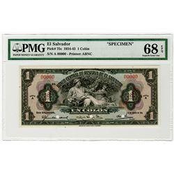 Banco Central de Reserva de El Salvador. 1934. Specimen Banknote.