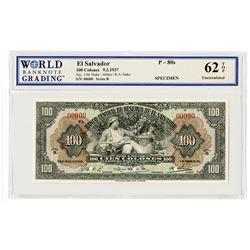 Banco Central de Reserva de El Salvador. 1937. Specimen Banknote.