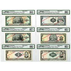 Banco Central de Reserva de El Salvador. 1968-1970. Set of 6 Specimen Banknotes.