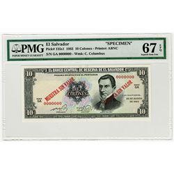 Banco Central de Reserva de El Salvador. 1983. Specimen Banknote.