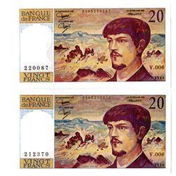 Banque De France, 1980 Banknote Pair.