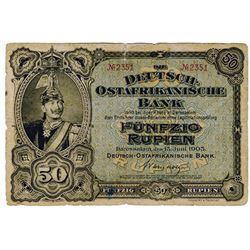 Deutsch-Ostafrikanische Bank, 1905 Issued Banknote.