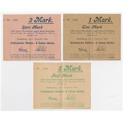 Notgeld Issues. 1914, Silesian Coals & Cokes Works, Gottesberg Trio.
