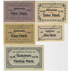 Blankenburg-Mark Officer POW Camp. ND (1917). Quintet of Notgeld.