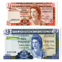Government of Gibraltar, 1975 & 1986 Issue Banknote Pair.