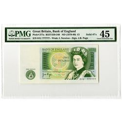 Bank of England. (ND 1978-80) Issue Banknote With Solid #4's