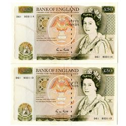 Bank of England. 1988, £50 Sequential Banknote Pair.
