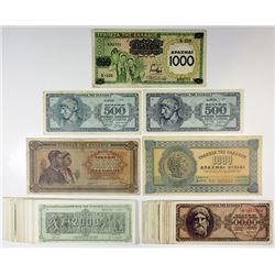 Bank of Greece. 1939-1944. Assortment of Issued Banknote Lot of 75+.