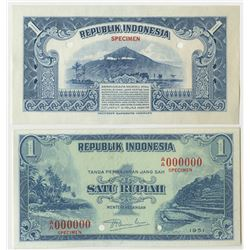 Republik Indonesia. 1951. Pair of Specimen Proof Notes.