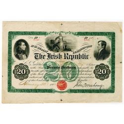Irish Republic 1866, $20 Issued Bond Rarity.