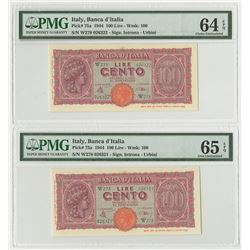 Banca d'Italia. 1944. Pair of Issued Banknotes.