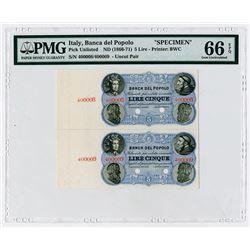 Banca del Popolo. ND (1866-1871). Uncut Specimen Banknote Vertical Pair