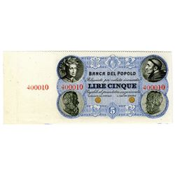 Banca del Popolo. ND (1866-1871), Unlisted Denomination Specimen Banknote Rarity