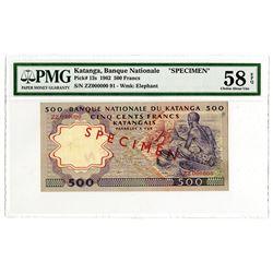 Banque Nationale du Katanga. 1962. Specimen Banknote.