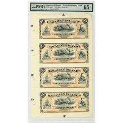 Kingdom of Hawaii, Department of Finance, 1879 (1880) Silver Certificate of Deposit, Uncut Sheet of