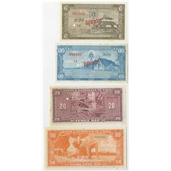 Banque Nationale de Laos. 1957. Quartet of Specimen Banknotes.