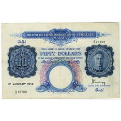 Board of Commissioners of Currency Malaya, 1942, $50 Issue Banknote.