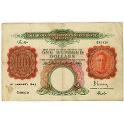 Board of Commissioners of Currency Malaya, 1942, $100 Issue Banknote.